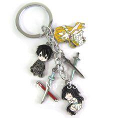 anime merchandise | Anime Sword Art Online toy figure sword pendant keychain colored metal ...