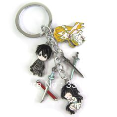 anime merchandise | Anime Sword Art Online toy figure sword pendant keychain colored metal ...