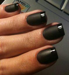 Black matte, shiny tip nails