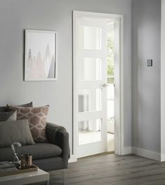 With four glazed panels, this modern door allows plenty of light to flood the room. Internal Doors Modern, Internal Glazed Doors, Modern Door, Primed Doors, Modern Windows, Room Doors, House Doors, Kitchen Doors, White Doors