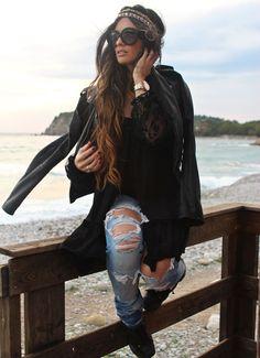 Ripped denim, leather, girly hair