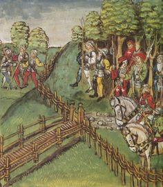 A fence braided with the open method. Note the twisting of the twigs (Lucerne Chronicle by Diebold Schilling the Younger) Tig, for Rachel