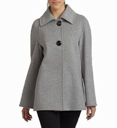4efdde21d22 Cinzia Rocca - Angora   Virgin Wool Peacoat Two-button Short Coat Size 12 ( Grey) CINZIA.  315.00