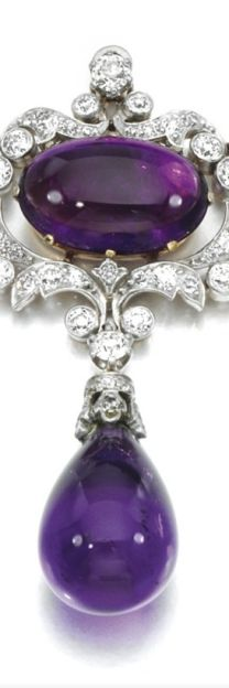 Rosamaria G Frangini | ColorDesire  | Purple | Antique Diamond and Amethyst Brooch Pendant