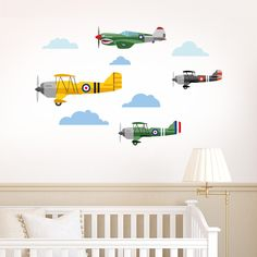 Classic Aeroplanes Fly-By – Wall Stickers