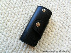 100% hand stitched handmade plain black by leathercraftbygrace