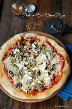 Pesto and Goat Cheese Pizza via Lemons for Lulu; Meal Plans Made Simple