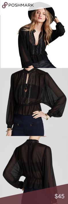 NWT Free People beautiful black blouse! A posh take on the peasant blouse, Free People's sheer black style flaunts shimmery beaded trim and a peplum silhouette for extra charm. Polyester Stand collar with double button closure, keyhole front, elasticized waist, beaded embellishment Free People Tops