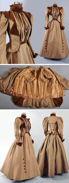 Visiting or promenade ensemble ca.1890s. Woven brown tweed trimmed in brown velvet. Skirt is Princess-style, with gores. It has deeper gathers in back where it hooks closed. Lining has interfacing. Short, fitted, boned bodice with jacket appearance. Leg o' mutton sleeves. Maire McLeod/Ruby Lane Vintage