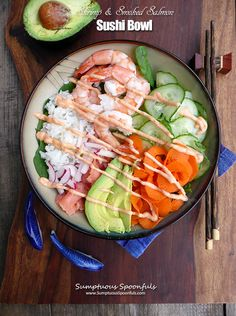 "All the delicious flavors of sushi in an easy bowl! My friend Jon (who is Asian) calls this ""bachelor sushi"" … he tells me the way he makes sushi at home is just to throw it all i…"