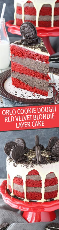 Oreo Cookie Dough Red Velvet Blondie Layer Cake is totally over the top – but you are definitely going to want some! With layers of red velvet blondie and eggless oreo-filled cookie dough, it's a deliciously dense cake. Oreo Cookie Dough, Biscuit Oreo, Oreo Cookies, Mini Desserts, Just Desserts, Delicious Desserts, French Desserts, Super Torte, Yummy Treats