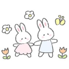 The fluffy bunny sticker 4 – LINE stickers Cute Doodles, Simple Doodles, Kawaii Drawings, Cute Drawings, Bunny Drawing, Fluffy Bunny, Cute Memes, Line Sticker, Cute Icons