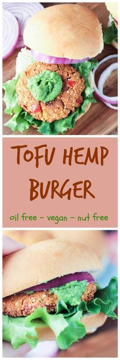 """Tofu Hemp Burger - firm and """"meaty"""" veggie burger that won't fall apart when you take a bite! Load it up with your favorite toppings or my Herbed White Bean Spread (recipe also listed here) and enjoy burger night! Vegan Sandwich Recipes, Tofu Recipes, Vegan Dinner Recipes, Vegetable Recipes, Vegetarian Recipes, Vegan Sandwiches, Free Recipes, Veggie Food, Burger Recipes"""