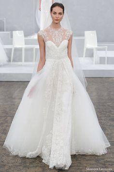 2015 BRIDAL gowns | monique lhuillier wedding dress spring 2015 bridal gown illusion cap ...