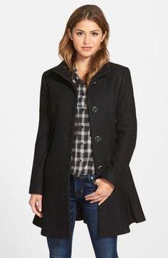 6e8bb4108337 Kensie Women s Single Breasted Ruffle Hem Coat Coats For Women