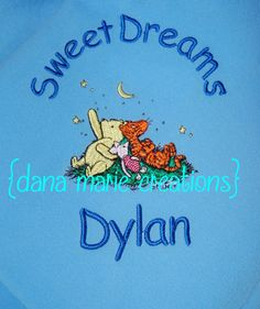 Personalized Baby Blanket Pooh Eeyore Tigger Free Insured Shipping by Dana Marie Creations $18.00