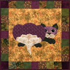 """This is block twenty nine of the popular StoryQuilt series, Garden Patch Cats by Helene Knott. The quilt block finishes at 18"""" square. Be sure and try out Helen's recipe for Rutabaga Au Gratin that's"""