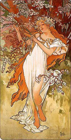 1896 Primavera (cuatro estaciones). Alphonse Mucha. Simbolización de los estados emocionales de estas, en este caso, la inocencia.