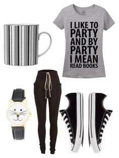 """""""And By Party, I Mean Books"""" by runnrgrl712 ❤ liked on Polyvore featuring Wedgwood, Rick Owens, Olivia Pratt, Converse, women's clothing, women, female, woman, misses and juniors"""