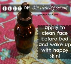 DIY Skin Clearing Serum ~ 3 1/2-4 TBL Aloe Vera Gel, 15 drops Melaleuca, 10 drops Ylang Ylang, 7 drops Lemongrass, 5 Lavender. Use after cleaning & removing make up.
