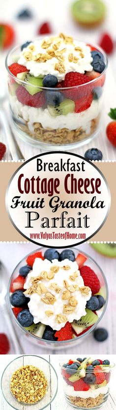 I love how tasty this cottage cheese fruit granola parfait is! Layers of cottage cheese, granola, and lots of berries. Full of protein, fiber and incredibly easy to make! It also keeps you pretty full without a lot of calorie intake. Who can resist such a healthy and satisfying breakfast, an anytime snack or dessert if you drizzle with a bit of honey? Give it a try! | www.valyastasteofhome.com