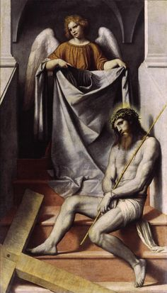 Moretto da Brescia, Christ with an Angel, c. 1550