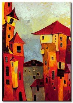 pintura al oleo moderna de casas                                                                                                                                                      Más