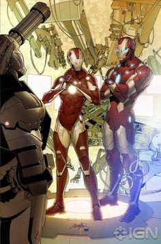 Iron Man (Tony Stark) and Rescue (Pepper Potts)