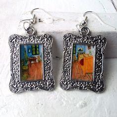 """Vincent Van Gogh """"Bedroom in Arles"""" Earrings Frame Tibetan Silver Plated"""