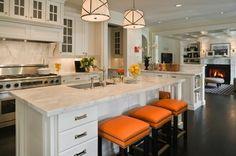 classic white kitchen + orange bar stools via Graciela Rutkowski Interiors Marble Kitchen And Bath, New Kitchen, Kitchen Dining, Kitchen Decor, Kitchen Stools, Orange Kitchen, Awesome Kitchen, Kitchen Layout, Kitchen Cabinets