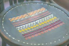 estampado tribal, silla etnica, chalk paint