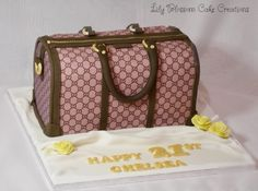 Gucci Bag birthday cake finished with fine detailed stitching, no-one will believe it is a cake!