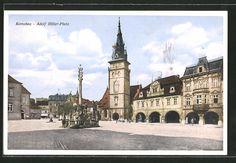 old postcard: AK Komotau / Chomutov, Adolf Hitler-Platz mit Säule