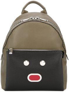 Fendi Shoulder Bag New Green Leather Backpack Monster Backpack, Backpack Bags, Leather Backpack, Fashion Backpack, Leather Bag, Fendi Backpack, Luxury Purses, Luxury Bags, New Green