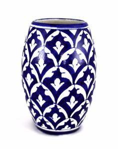 Amira Drum Vase - Jaipur Blue Pottery - Vilaasita  - 1