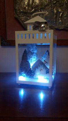 lanterna con paesaggio bianco grigio orietta handmade
