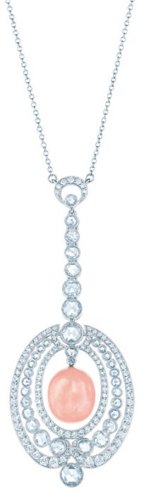 Pendant with a conch pearl and rose-cut diamonds in platinum. From The Great Gatsby collection by Tiffany & Co., inspired by Baz Luhrmann's film in collaboration with Catherine Martin. Via The Jewellery Editor.