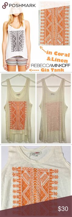 """Rebecca Minkoff Boho Embroidered Gia Tank Embroidery adds an eclectic touch to this rebecca minkoff slub tank, cut from breezy linen jersey. Uneven, high low hem. Double scoop neckline. Fabric: slubbed jersey. Measurements: Bust 18"""" Length 25""""-28"""".   Color: linen with coral embroidery. Rebecca Minkoff Tops Tank Tops"""