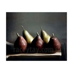 Fall Pears, Rustic Kitchen Decor, Red, Gold, Food Photography, Dark,... ($30) ❤ liked on Polyvore featuring home and kitchen & dining