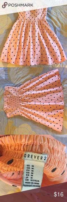 Sherbet polka dot dress. Only worn a handful of times. Zipper on side. Forever 21. Forever 21 Dresses Mini