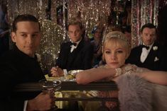The Great Gatsby. 12.25.12. Tobey Maguire, Leonardo DiCaprio, Carey Mulligan, and Joel Edgerton (L-R).