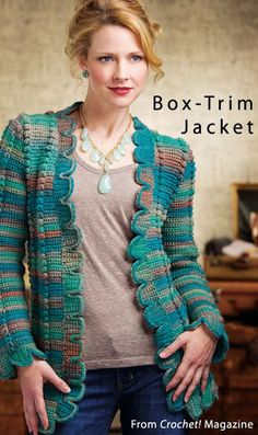 Box Trim Jacket from the Winter 2013 issue of Crochet! Magazine. Order a digital copy here: http://www.anniescatalog.com/detail.html?code=AM...