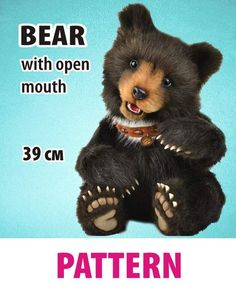 Pattern Bear with open mo by Anastasia Arzhaeva - Bear Pile Toys Land, Baby Shower Niño, Sewing Projects For Beginners, Orangutan, Stuffed Toys Patterns, Panda Bear, Guinea Pigs, Mammals, Baby Knitting