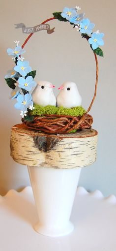 Items similar to garden woodland wedding birds nest topper mantle piece blue forget me nots just married READY TO SHIP on Etsy Wedding Birds, Woodland Wedding, Blue Wedding, Bird Cage Cake, Red Velvet Wedding Cake, Easy Polymer Clay, Crepe Paper Flowers Tutorial, Biscuit, Cold Porcelain Flowers