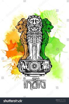 Lion capital of Ashoka in Indian flag color. Emblem of India. W atercolor texture backdrop. Indian Flag Pic, Indian Flag Colors, Indian Flag Images, Indian Gods, Indian Symbols, Indian Art, Independence Day Drawing, Independence Day India, Indian Flag Wallpaper