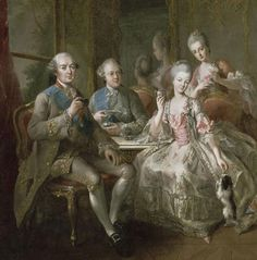 """Family of duke of Penthièvre in 1768 or """"The Cup of chocolate"""" by Jean-Baptiste Charpentier, XVIIIth century © RMN / Gérard Blot"""