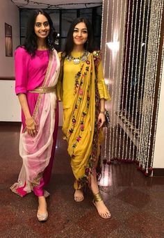 Some fun and glam ways of wearing sarees for bridesmaids -Awesomelifestylefashion Indian Gowns, Indian Attire, Indian Outfits, Indian Designer Outfits, Designer Dresses, Indian Designers, Sari, Stylish Dresses, Fashion Dresses