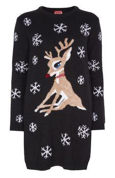Robe-pull de Noël à motif renne