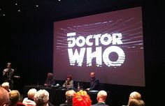 Frazer Hines (Jamie), Deborah Watling (Victoria) and Mark Gatiss answering questions at the press conference
