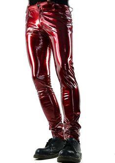 8e6369dd HORSE & HORN RED EVIL GOTHIC PVC VINYL GLOSSY ROCKSTAR ROCKER SKINNY JEANS  PANTS